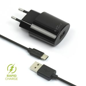 nabíječka pro mobil Síťová nabíječka Fixed s odnímatelným Usb-c kabelem, 2,4A, černá