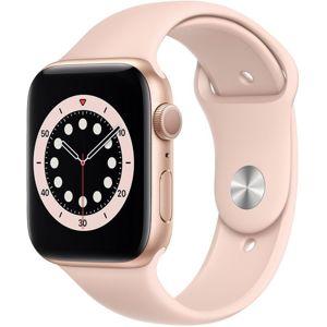 Apple chytré hodinky Watch Series 6 44mm Zlatý hliník s pískově růžovým sportovním řemínkem