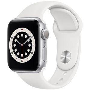 Apple chytré hodinky Watch Series 6 40mm Stříbrný hliník s bílým sportovním řemínkem